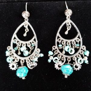 Vintage Earrings Boho Hippie Turquoise Silver EUC